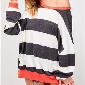 Tops - Long sleeve wide stripe contrast sweatshirt top